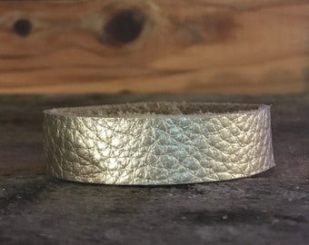 Champagne Thin Cuff Leather Bracelet