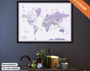 Ultra Violet Pantone inspired Push Pin travel map / Pantone 2018 color travel map / Personalized World Map pinboard / World map with Pins