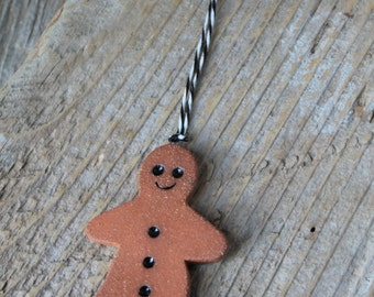 Ginger Bread Man Ornament - Handmade Red Stoneware Pottery