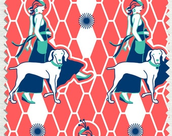 Fabric in Walking Miss Gypsy Pattern Tangerine color