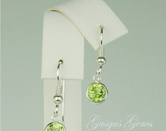 MothersDaySale Peridot Sterling Silver Dangle Earrings 6mm 2ctw Natural Untreated