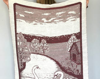 Vintage tapestry Large woven wall hanging Plum red white wall decor featuring a pair of swans Scandinavian tapestry