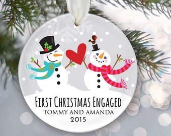 First Christmas Engaged Personalized Christmas Ornament Engagement Christmas Ornament Snowman couple Names & Date Snowmen Ornament OR276