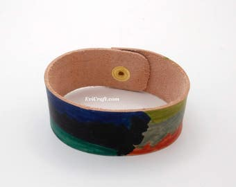 Hand dyed Leather bracelet, rainbow colourful leather cuff, blue green leather wristband, leather jewellery