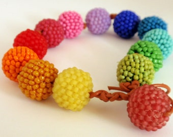 Knotted Beaded Beads in Neon Colors Bracelet