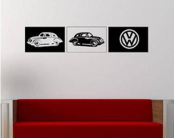 Large VW Cars Vinyl Wall Decal Wall Stickers, Matt Vinyl, Contemporary Wall Art, Wall Decor, Murals, Decals, 1500mm x 310mm