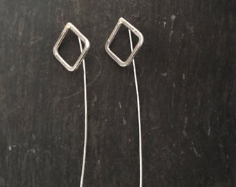 Silver Threader Earrings, Threader Earrings, Modern Design, Long Threader Earrings, Geometric Earrings, Minimalist Earrings, Gift for Her