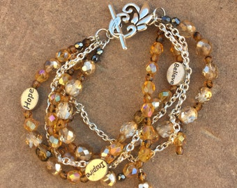 Multiple strand fire polished beaded bracelet