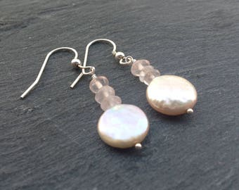 Champagne coin pearl earrings/rose quartz/bridal wear/wedding jewellery/gemstone jewellery/gift for her