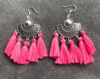 Ethnic earrings hot pink agate
