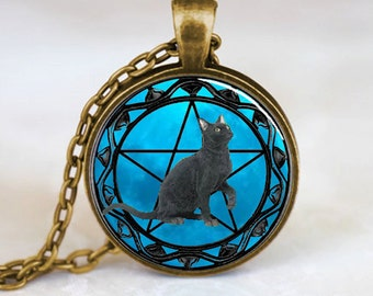 Black Cat with Blue Moon Pendant, Black Cat Pendant, Black Cat Necklace, Black Cat Jewelry, Black Cat Charm, bronze (PD0602)