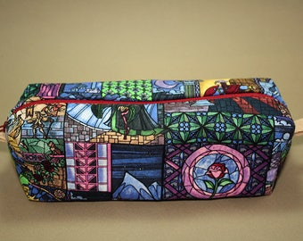 Boxy Makeup Bag-Disney's Beauty and the Beast Stained Glass Print- Pencil Pouch