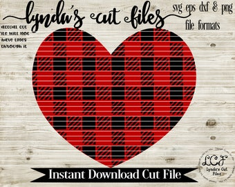Buffalo Plaid Heart //Valentines Day//SVG/EPS//DXF file