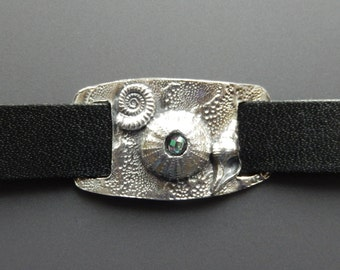 Sterling Silver Alexandrite Sea Urchin Black Leather Snap Cuff Ammonite Horse Conch Bracelet OOAK