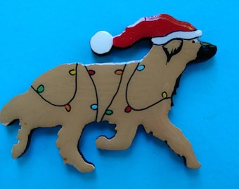 Leonberger Christmas Pin, Magnet or Ornament-Free Shipping-Hand Painted- Free Personalization Available