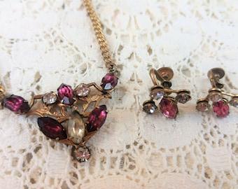 EXQUISITE Vintage Amethyst Purple & Diamond Necklace Earring Set - Screw On OMG!!!!