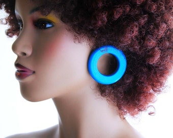 Hoop Earring, Wood Earrings, Wood Hoop Earrings, Maasai Woman African Blue Wood Hoop Earrings