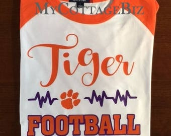 Tiger Football Heartbeat T-shirt - Choose your own team and colors