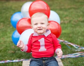 Cake Smash Outfit Boy - Baby Boy First Birthday Outfit - Collared Bodysuit - First Birthday Outfit for Baby Boy