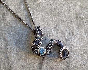 SALE - Aquamarine Tentacle Pendant, OctopusME, Octopus Jewelry, Tentacle Jewellery, sterling silver, Tentacle Jewelry, Kraken, Spectre
