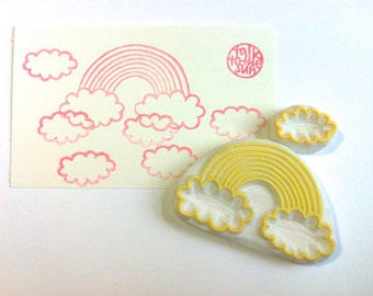 rainbow rubber stamp | cloud | diy birthday christmas fairytale crafts | card making | gift wrapping | hand carved stamp by talktothesun