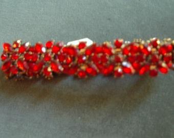 Ruby Flowers Braclet [deep ruby clor stones] Vintage Mint Item # 811