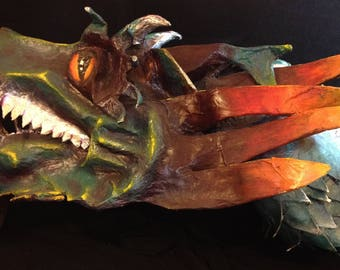 Dragon Chinese New Year parade, paper mache dragon head. Handmade faux taxidermy realistic friendly wearable art dragon trophy mount