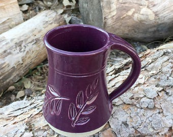 Locust Leaf Mug Purple 10 ounce Handmade Pottery by Daisy Friesen