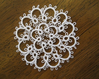 New Handmade White 4 Inch Tatted Lace Doily