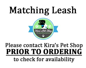 Add a Matching Dog Leash, Choose from 1.5ft 4ft or 5ft, Fabric Leash Backed with Coordinating Webbing, Kira's Pet Shop