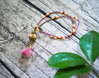 Pink Embroidery Floss Tassel Nacklace with Pink Stone Seed Beads and Wooden Beaded, Tassel Nacklace, Beaded Nacklace, Boho Necklace