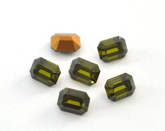 Olivine Swarovski 4600 8x6mm Octagon Crystal Rhinestones 4 Pieces