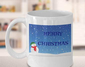 Snowman Coffee Mug, Cute Novelty Christmas Cups, Secret Santa Presents For Office, Coworker Christmas Work Gifts, Holiday Theme Mugs