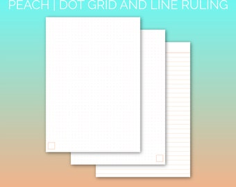 PRINTABLE A5 Paper Peach | Printable Paper, Dot Grid Paper, Lined Paper, Planner Paper, Writing Paper, Bujo Paper | PDF | Instant Download