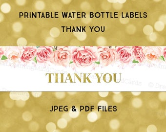 Printable Water Bottle Labels Thank You Blush Pink Watercolor Flowers Gold Instant Digital Download