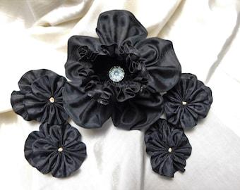 Black Daffodil Pansies Ribbon Flower Set