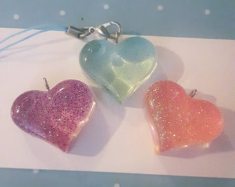 Glitter Heart Phone Charms
