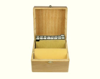 Vintage wooden A-Z card file box with dovetail corners - industrial, office decor, desk organizer, wood trinket Box, gift idea