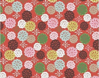 Red Doily Fabric, Windham 40264-6 Mouse Camp, Erica Hite, Red Floral Fabric, Quilt Blender Fabric, Red, Pink, Green, Brown, Cotton Yardage