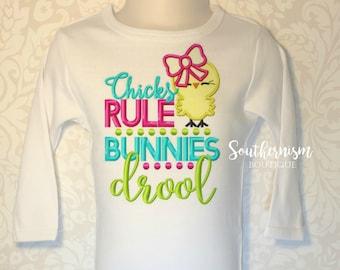 Easter Shirt, Girls Easter Shirt, Monogram Easter Shirt, Chicks Rule, Easter, Personalized Easter Shirt, chicks shirt, bunnies drool shirt