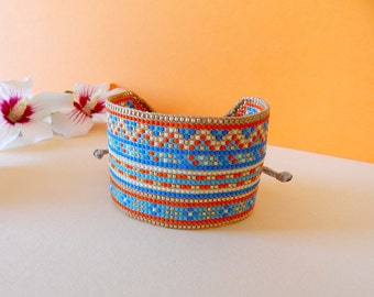 Golden yellow orange blue miyuki bollywood woven Cuff Bracelet
