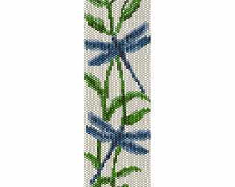 Two Dragonflies Peyote Bead Pattern, Bracelet Cuff, Bookmark, Seed Beading Pattern Miyuki Delica Size 11 Beads - PDF Instant Download