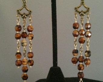 Bronze Chandelier Earrings with Elephant charms / Earrings with charms / Elephant earrings / Animal Earrings / Long dangling earrings