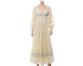 Vintage 70s Gunne Sax Dress 1970s Cream Calico Floral Striped Prairie Festival Dress, Boho Wedding Dress Hippie Renaissance Fair Dress / S