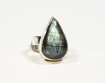 Labradorite Ring Silver Size 6.4 (6) Unique 268