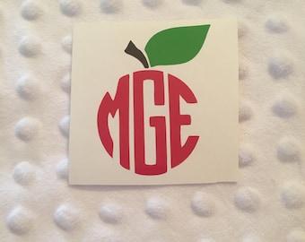 Apple Monogram Decal - Teacher Gift Decal - Apple Sticker - Monogram Decal - Circle Monogram Apple Decal