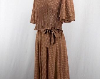 Brown Swiss Dot Poly Knit Dress Pleated Bodice