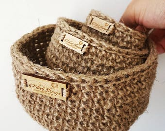 Handmade Crochet Jute Twine Nested Baskets - Set of 3