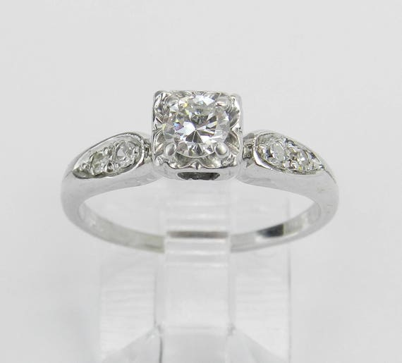 Antique Ring Vintage Ring Diamond Engagement Ring  14K White Gold Genuine Natural Size 6