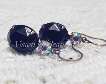 Night Out Black Swarovski and Vintage Crystal Earrings